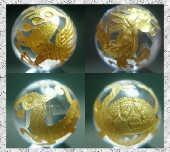 金彫刻四神獣水晶(手彫り)